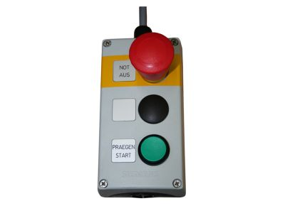Control panel with emergency stop and start marking